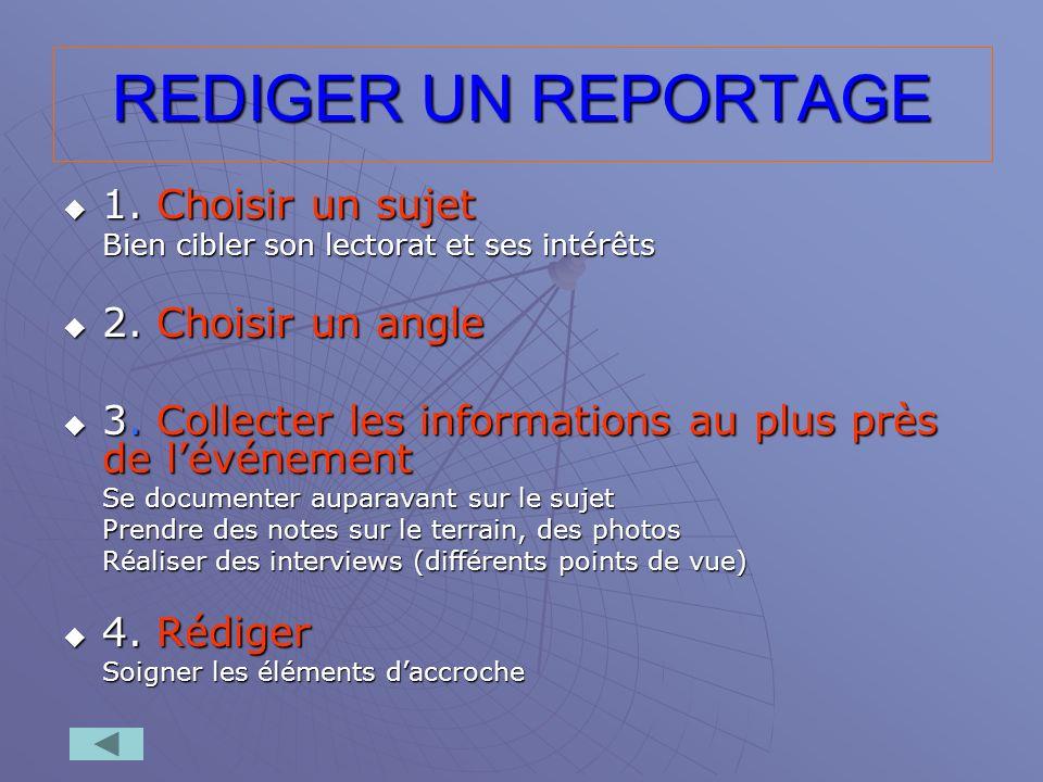 REDIGER UN REPORTAGE 1. Choisir un sujet 2. Choisir un angle