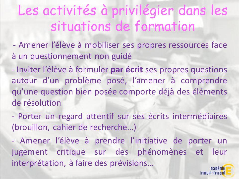 Les activités à privilégier dans les situations de formation