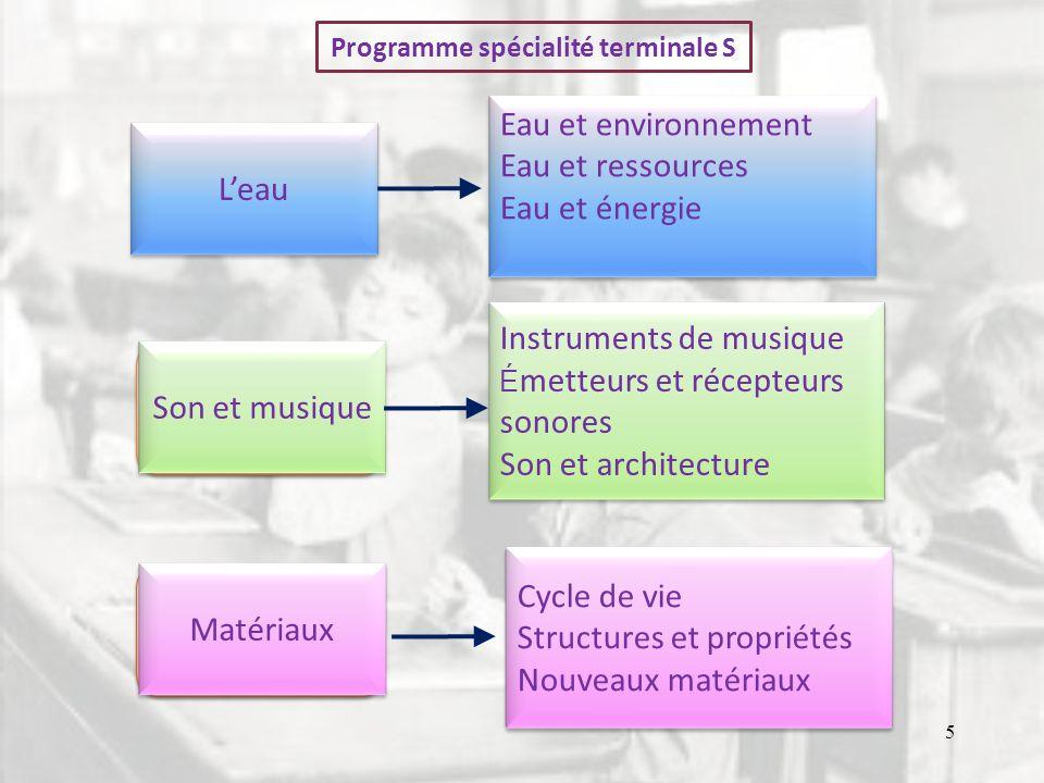 Programme spécialité terminale S