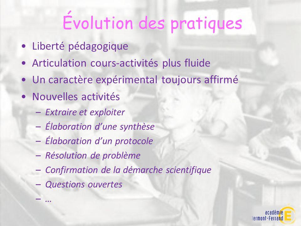 Évolution des pratiques