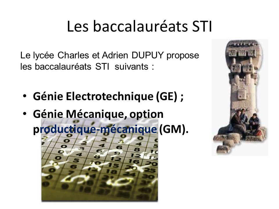 Les baccalauréats STI Génie Electrotechnique (GE) ;