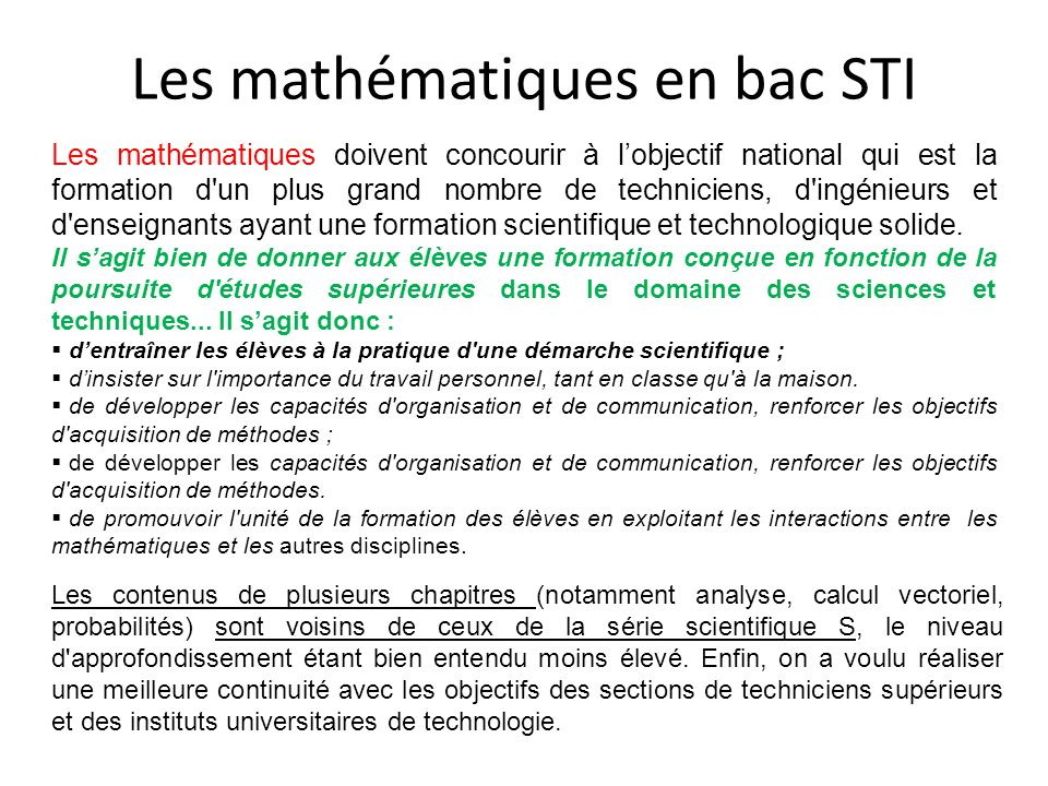 Les mathématiques en bac STI