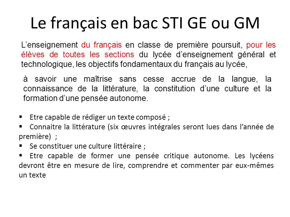 Le français en bac STI GE ou GM