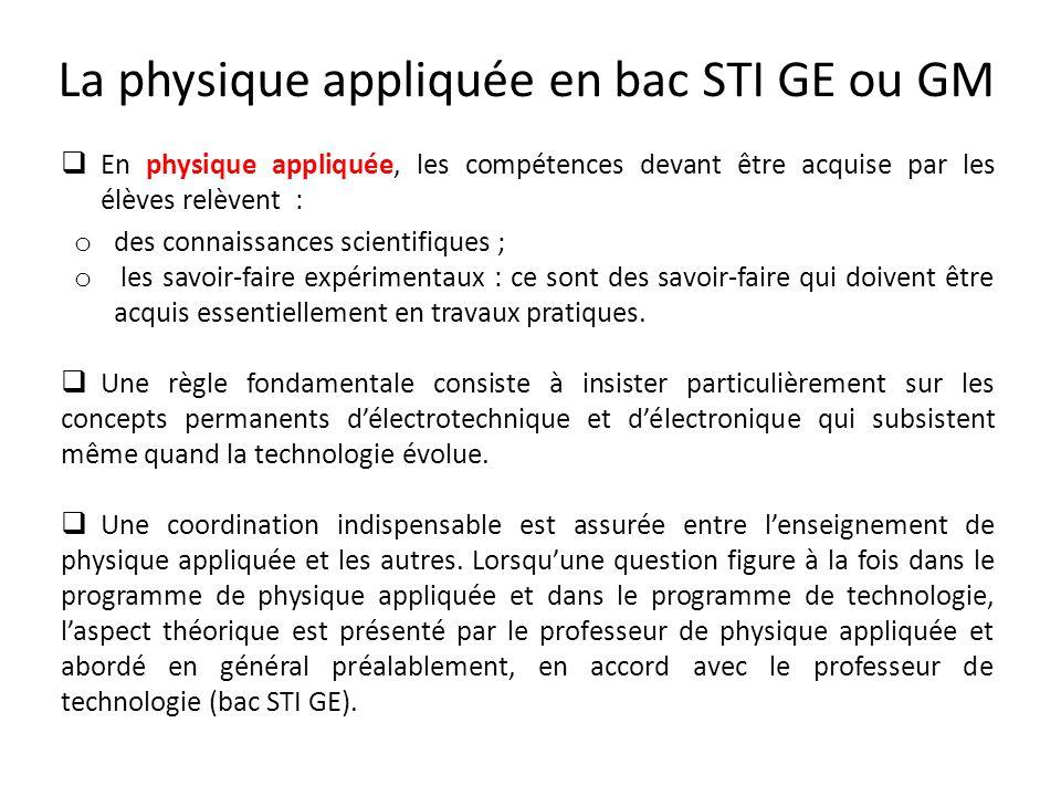 La physique appliquée en bac STI GE ou GM