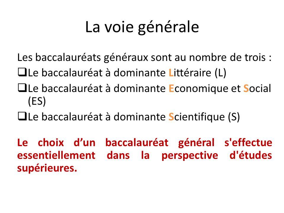 La voie générale Les baccalauréats généraux sont au nombre de trois :