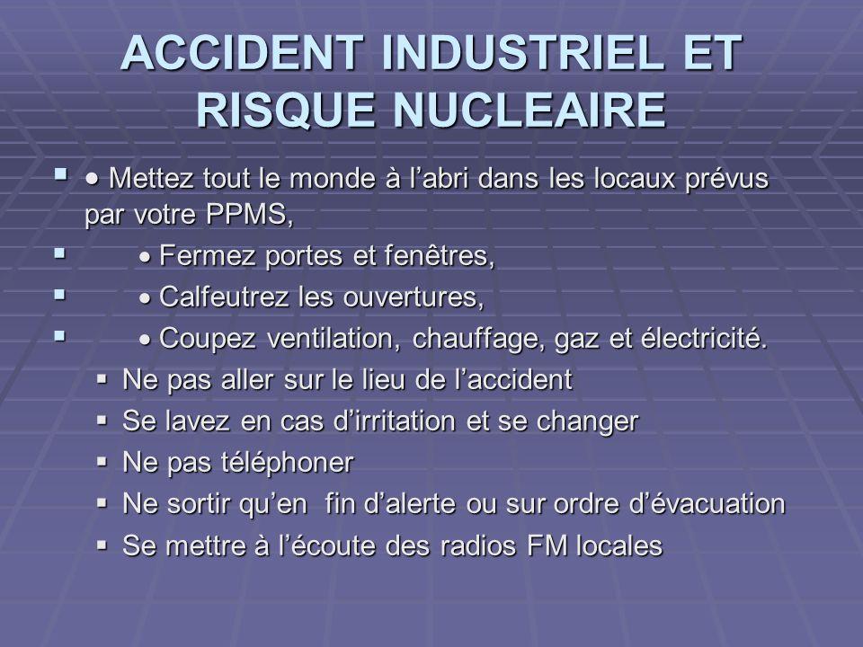 ACCIDENT INDUSTRIEL ET RISQUE NUCLEAIRE
