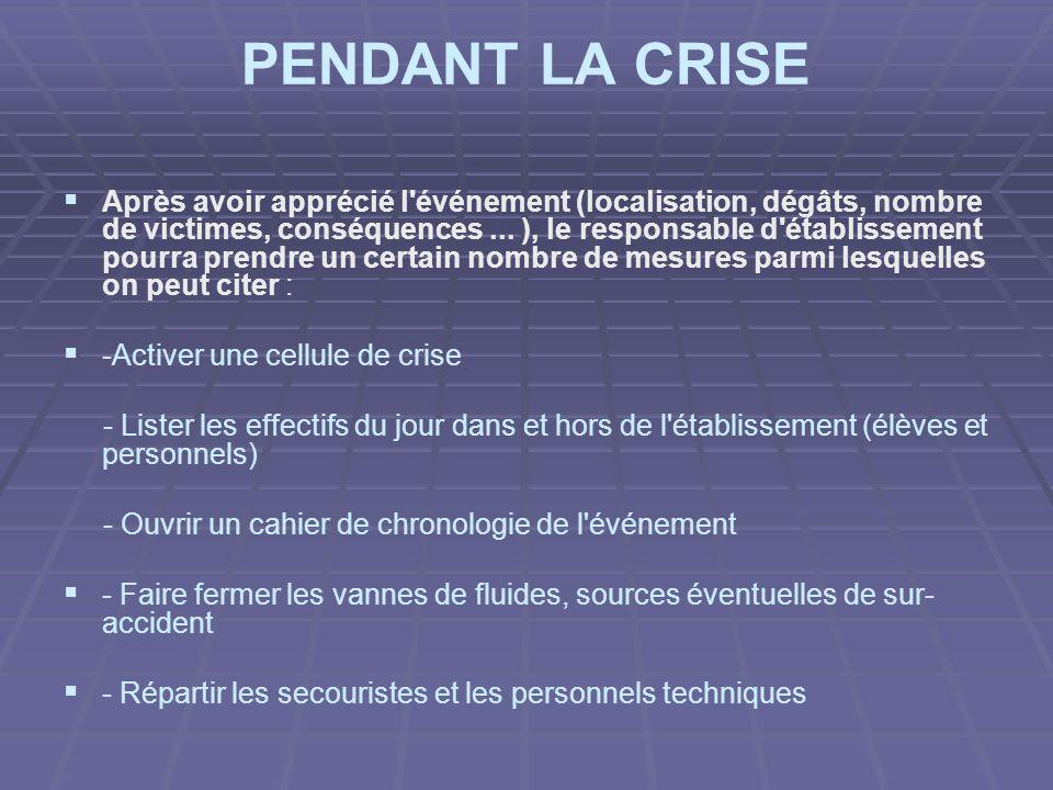 PENDANT LA CRISE