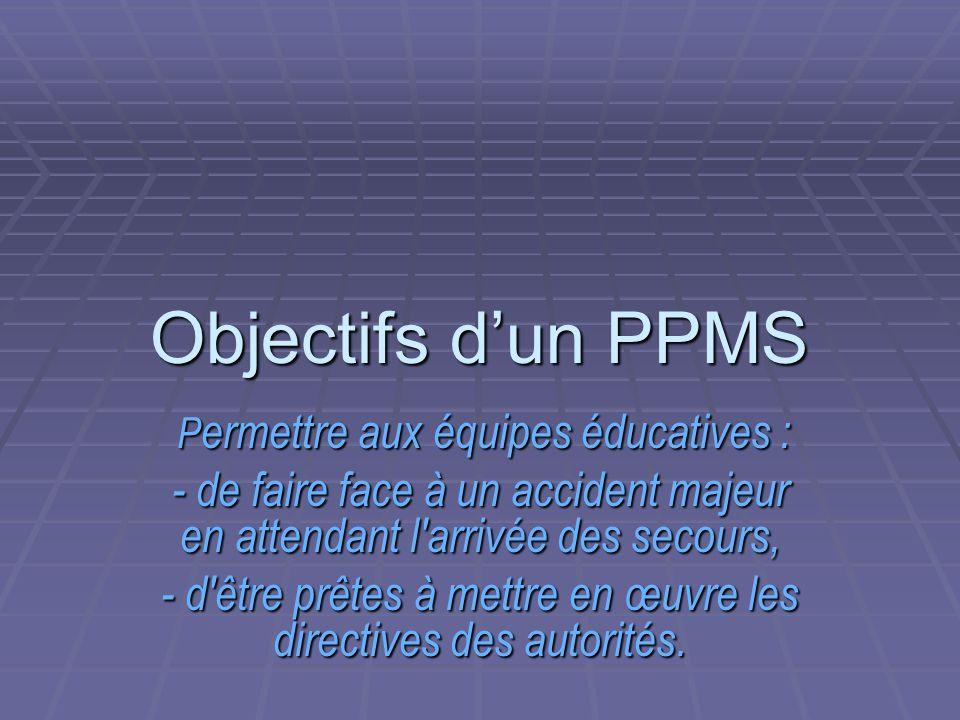 Objectifs d'un PPMS Permettre aux équipes éducatives : - de faire face à un accident majeur en attendant l arrivée des secours,