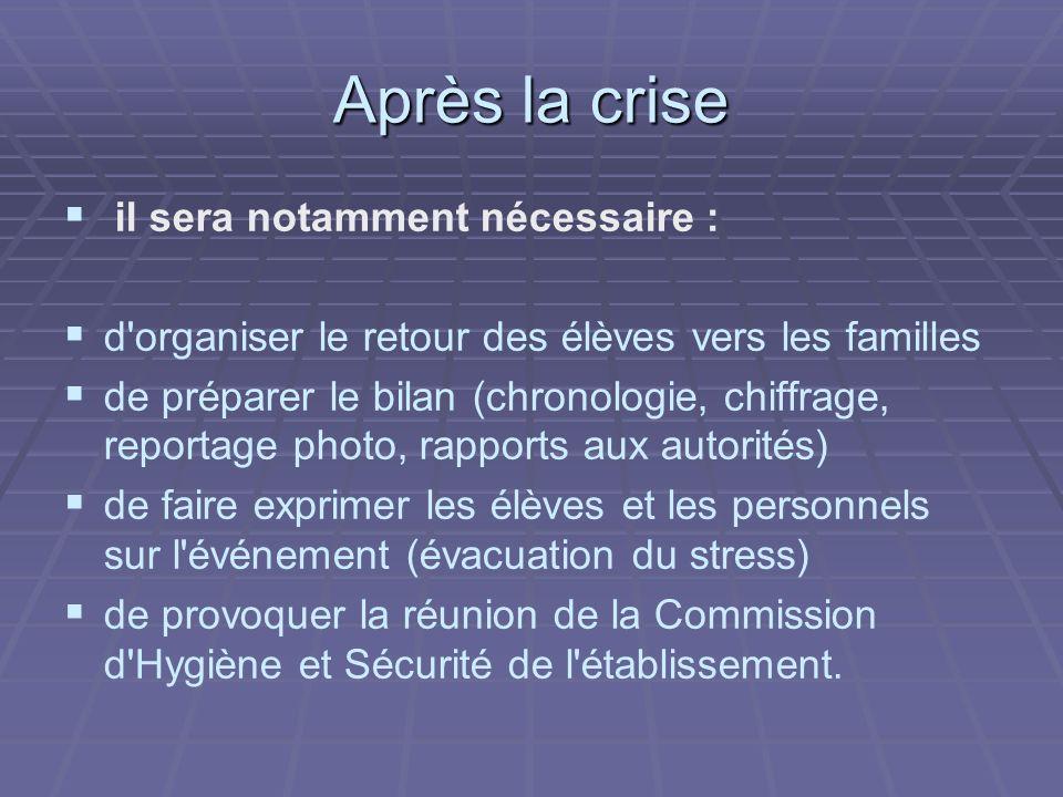 Après la crise il sera notamment nécessaire :
