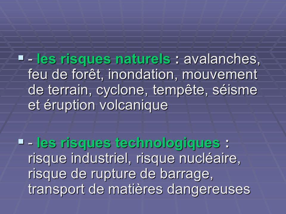 - les risques naturels : avalanches, feu de forêt, inondation, mouvement de terrain, cyclone, tempête, séisme et éruption volcanique