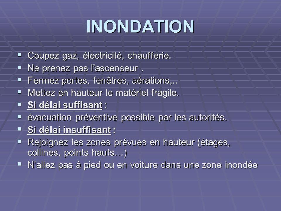 INONDATION Coupez gaz, électricité, chaufferie.