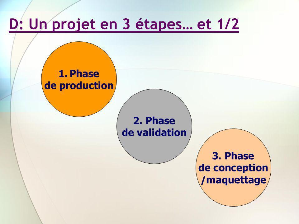 D: Un projet en 3 étapes… et 1/2