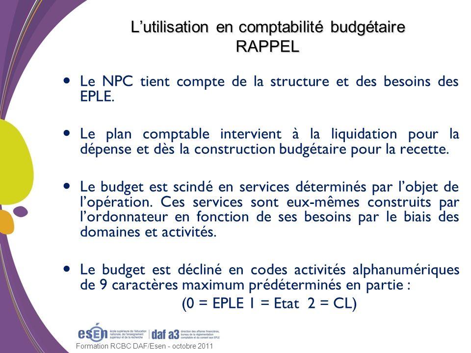 L'utilisation en comptabilité budgétaire RAPPEL