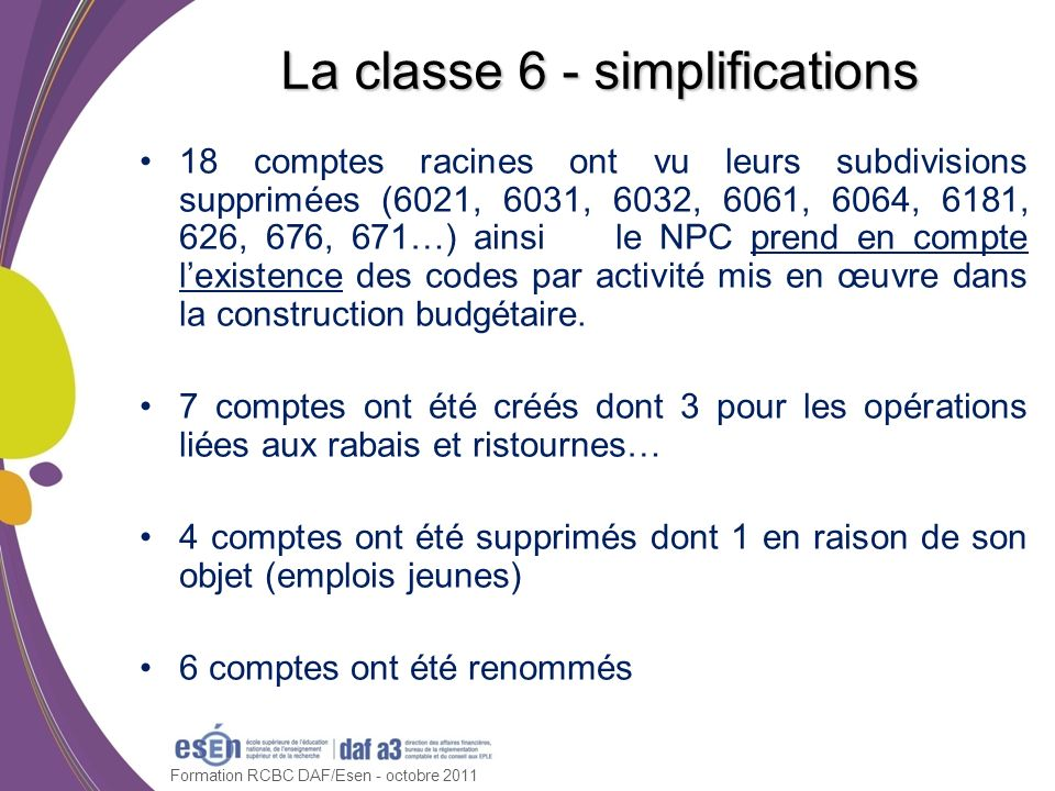 La classe 6 - simplifications