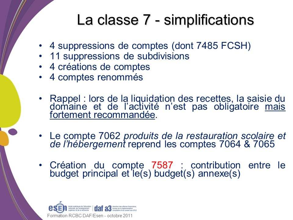 La classe 7 - simplifications