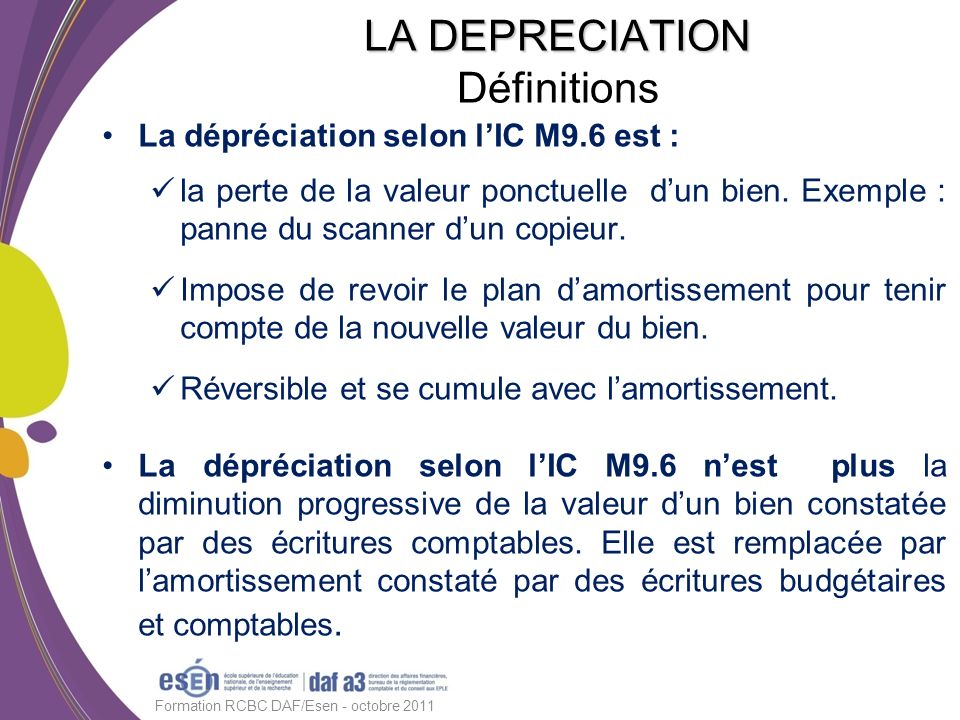 LA DEPRECIATION Définitions