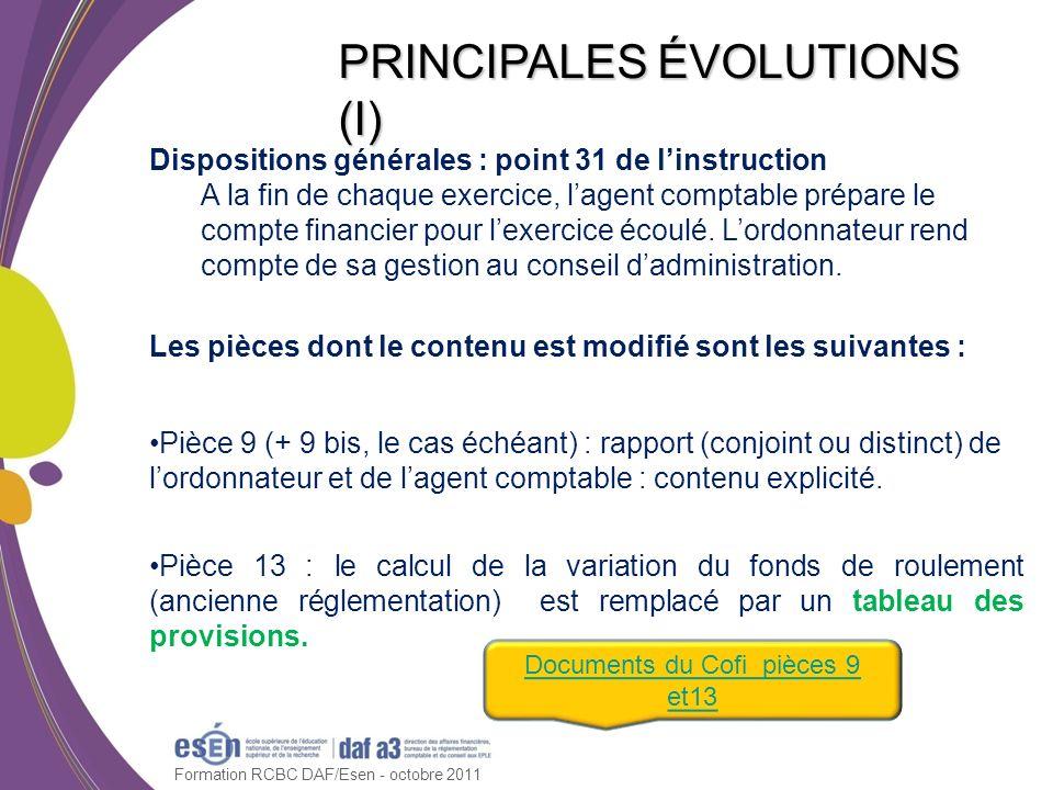 PRINCIPALES ÉVOLUTIONS (I)