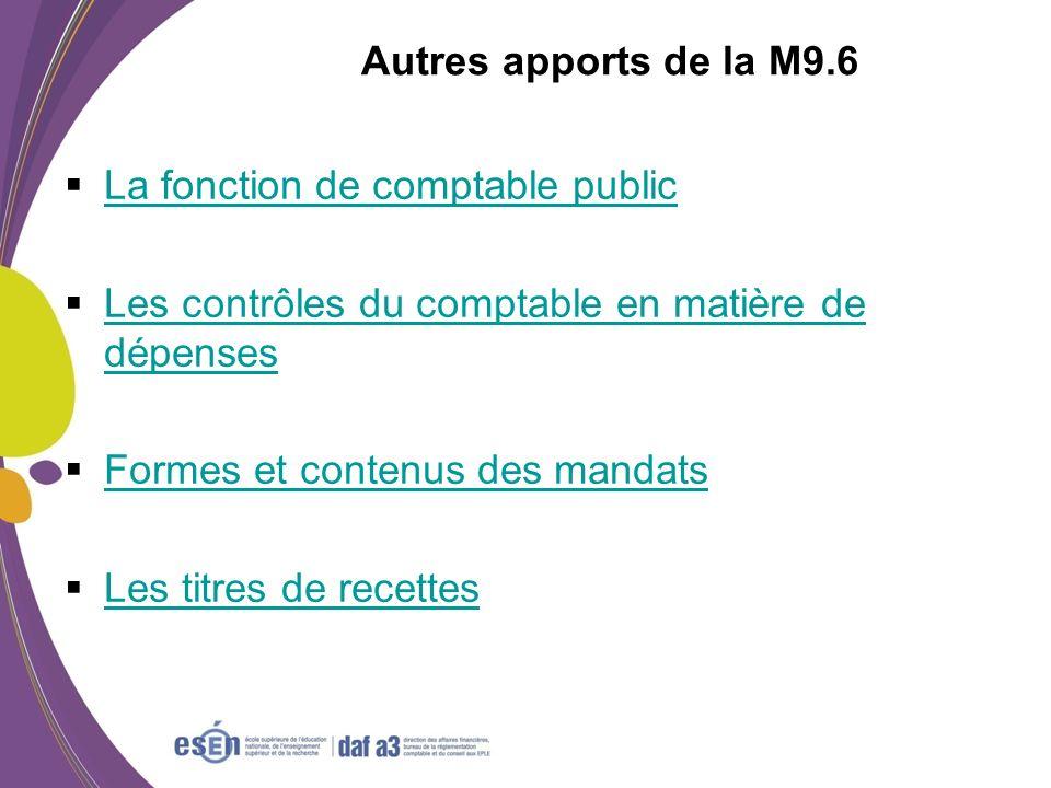 Autres apports de la M9.6 La fonction de comptable public. Les contrôles du comptable en matière de dépenses.