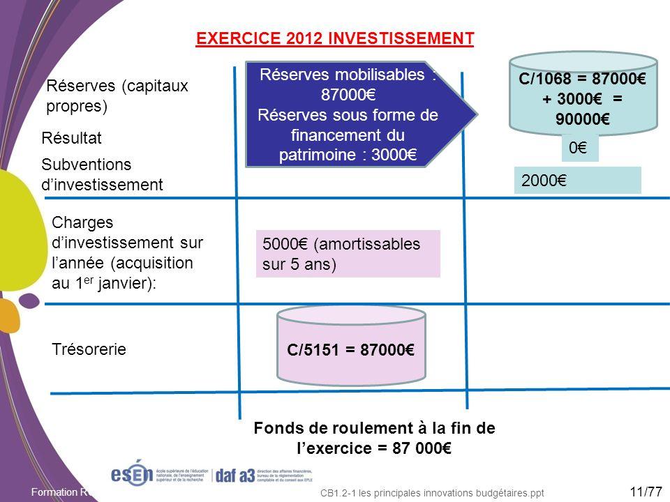 EXERCICE 2012 INVESTISSEMENT