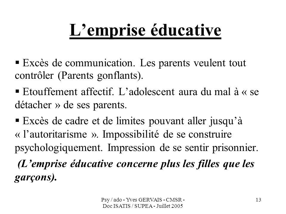 L'emprise éducative Excès de communication. Les parents veulent tout contrôler (Parents gonflants).