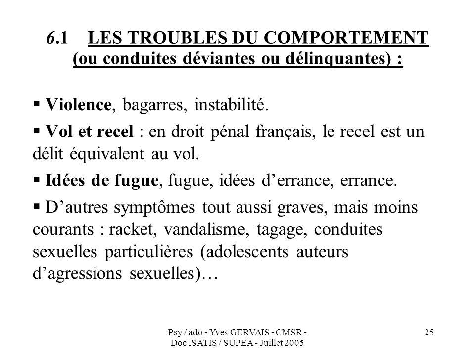 6.1 LES TROUBLES DU COMPORTEMENT (ou conduites déviantes ou délinquantes) :
