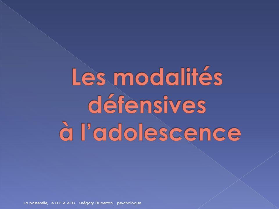Les modalités défensives à l'adolescence