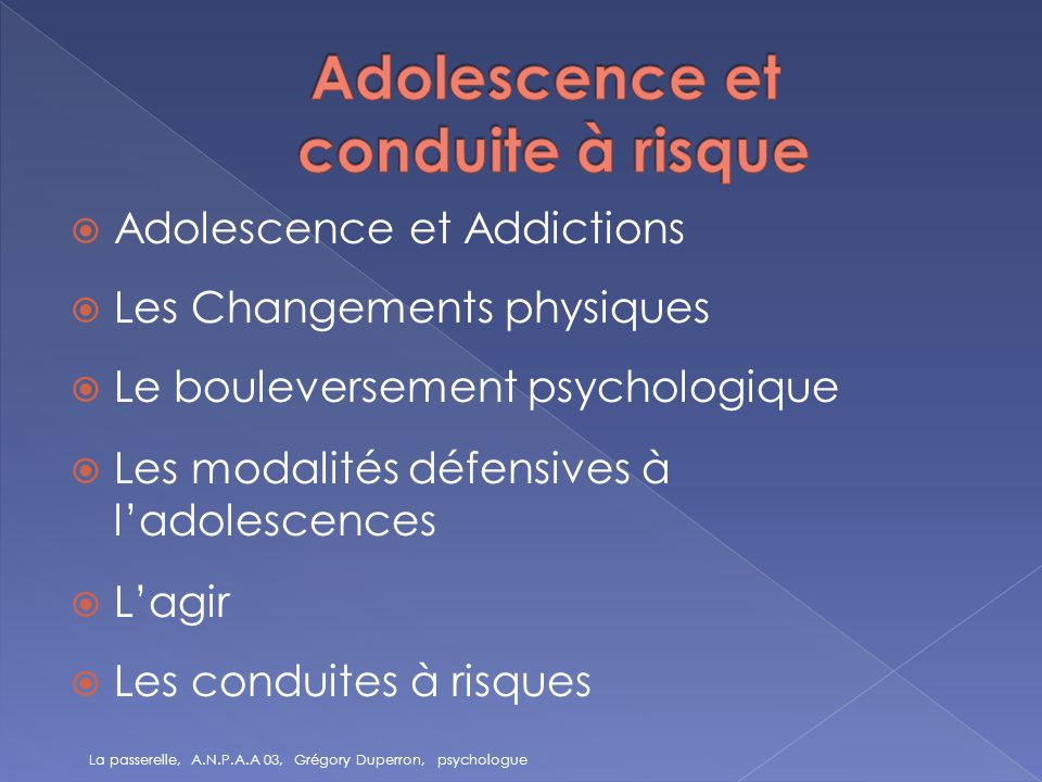 Adolescence et conduite à risque