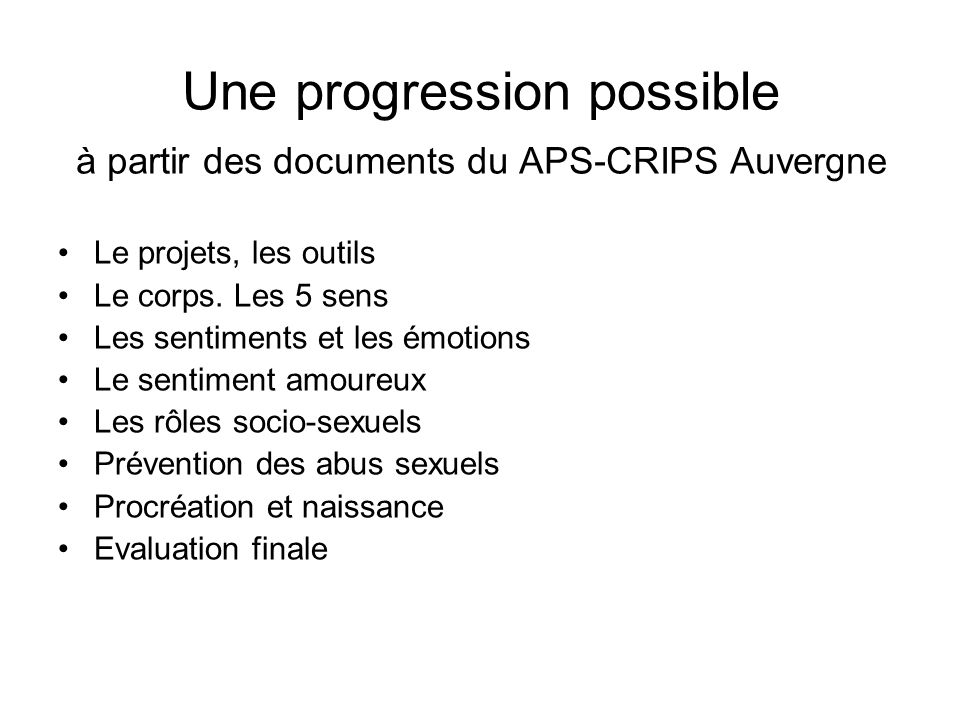 Une progression possible à partir des documents du APS-CRIPS Auvergne