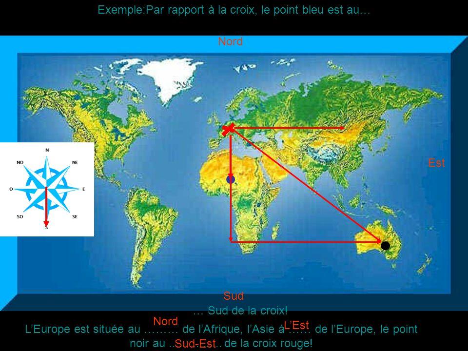 Exemple:Par rapport à la croix, le point bleu est au…