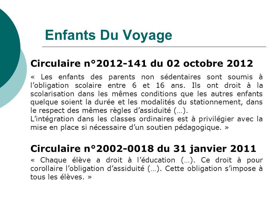 Enfants Du Voyage Circulaire n°2012-141 du 02 octobre 2012