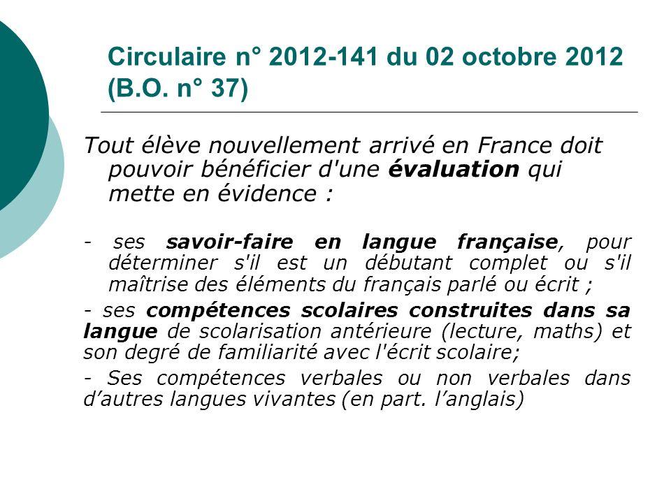 Circulaire n° 2012-141 du 02 octobre 2012 (B.O. n° 37)