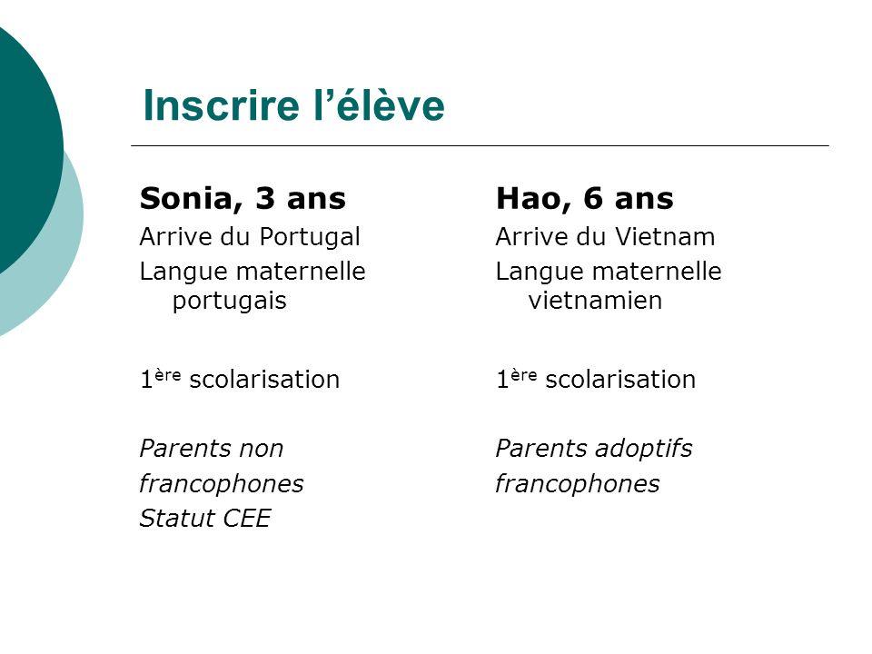 Inscrire l'élève Sonia, 3 ans Hao, 6 ans Arrive du Portugal