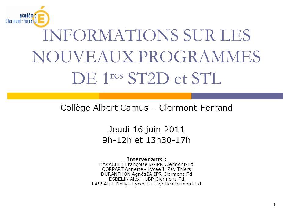 INFORMATIONS SUR LES NOUVEAUX PROGRAMMES DE 1res ST2D et STL