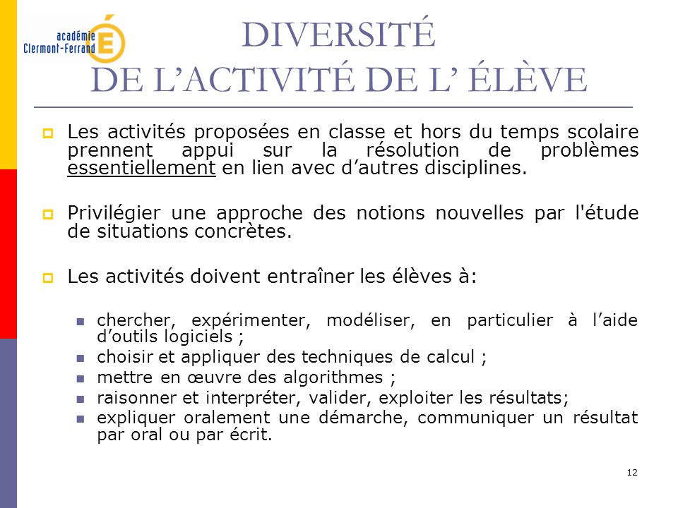DIVERSITÉ DE L'ACTIVITÉ DE L' ÉLÈVE