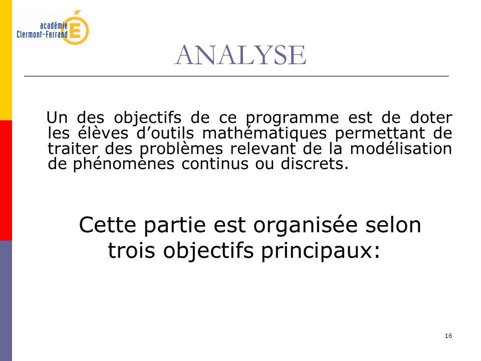 ANALYSE Cette partie est organisée selon trois objectifs principaux: