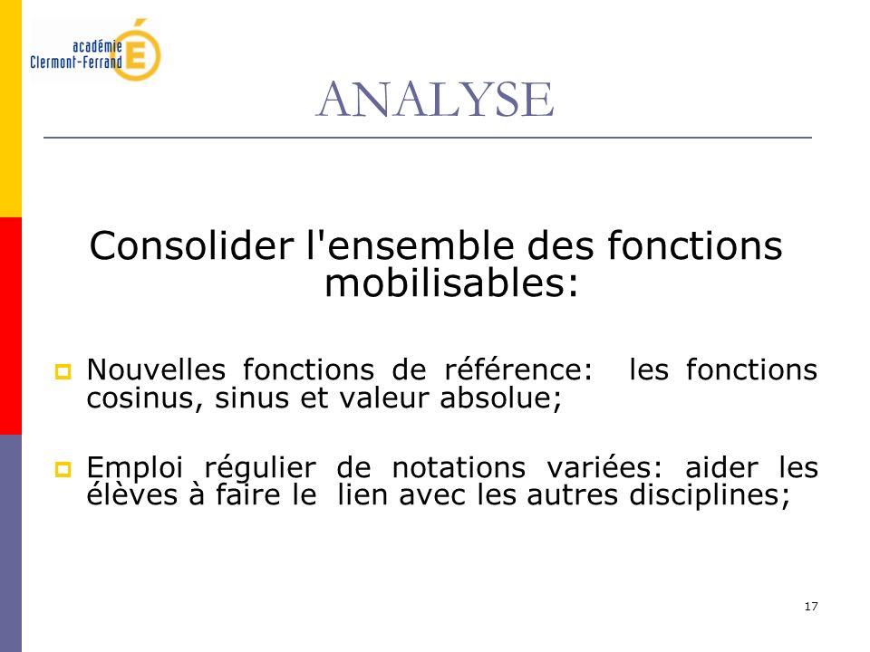 Consolider l ensemble des fonctions mobilisables: