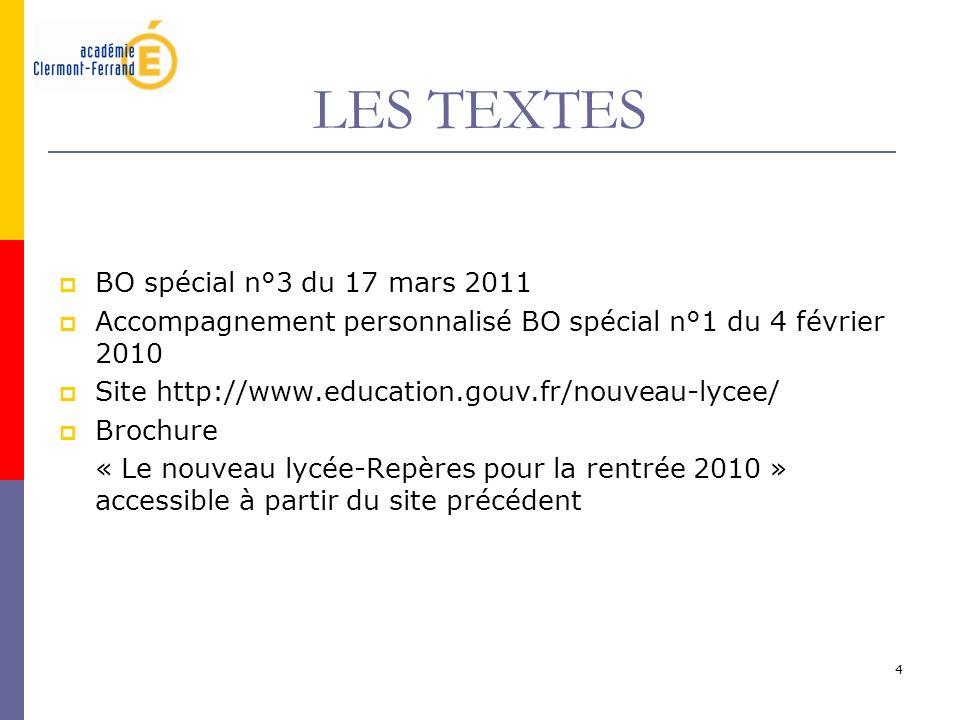 LES TEXTES BO spécial n°3 du 17 mars 2011