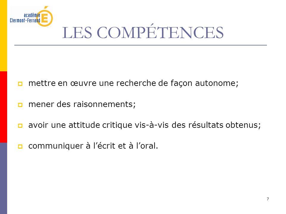 LES COMPÉTENCES mettre en œuvre une recherche de façon autonome;