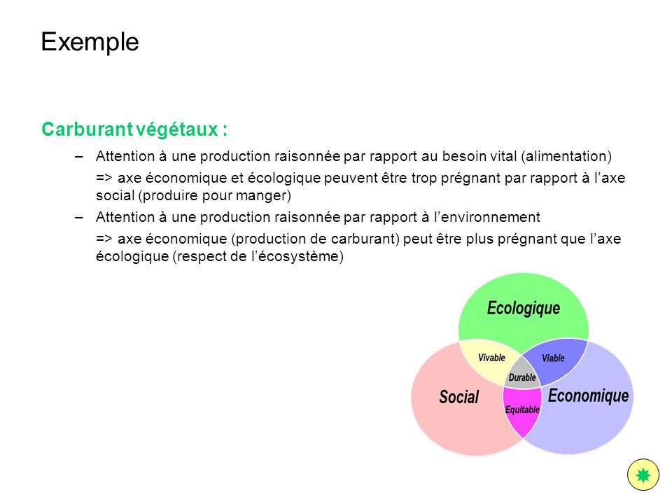 Exemple  Carburant végétaux :
