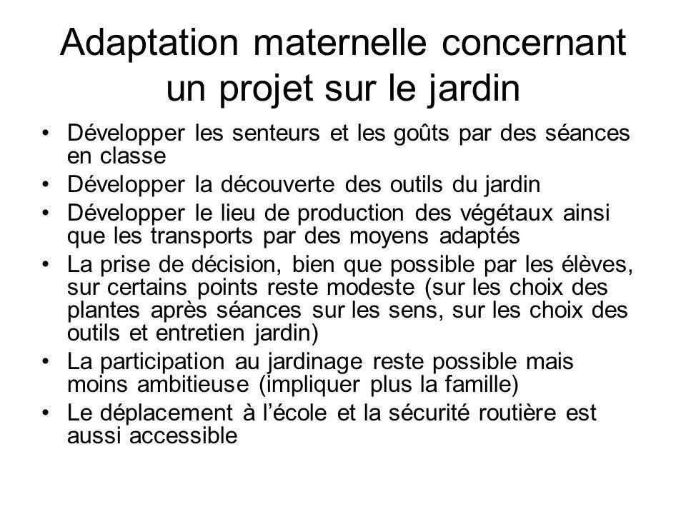 Adaptation maternelle concernant un projet sur le jardin