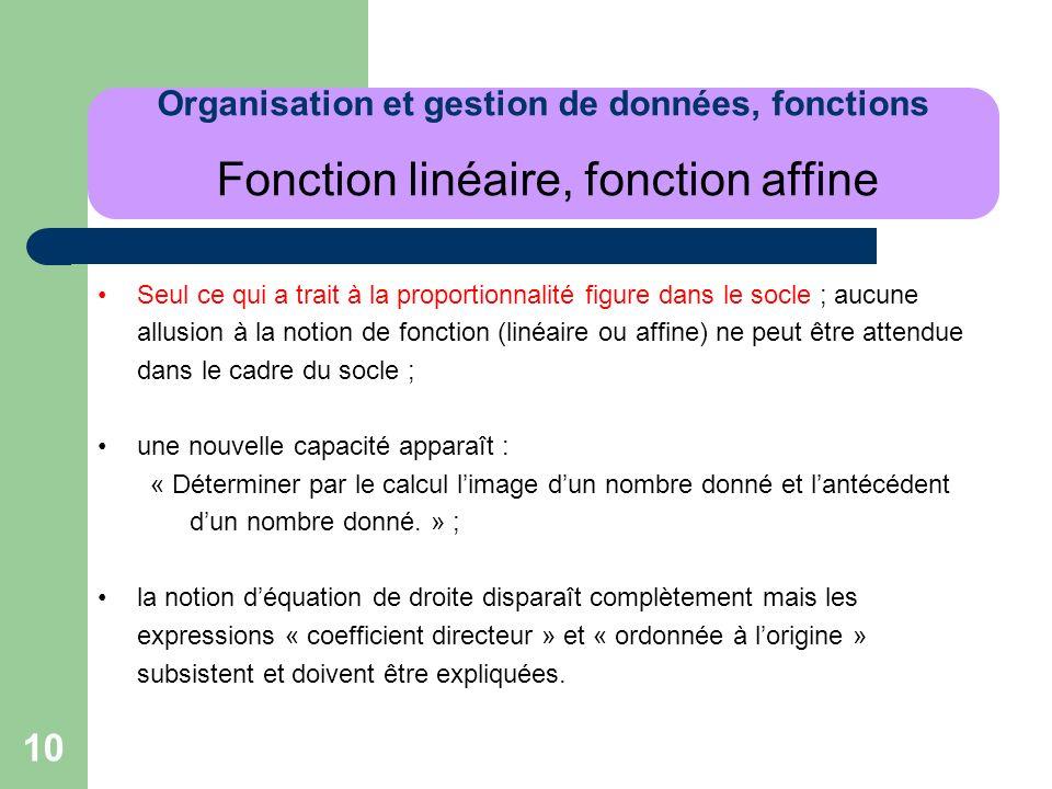 Organisation et gestion de données, fonctions Fonction linéaire, fonction affine