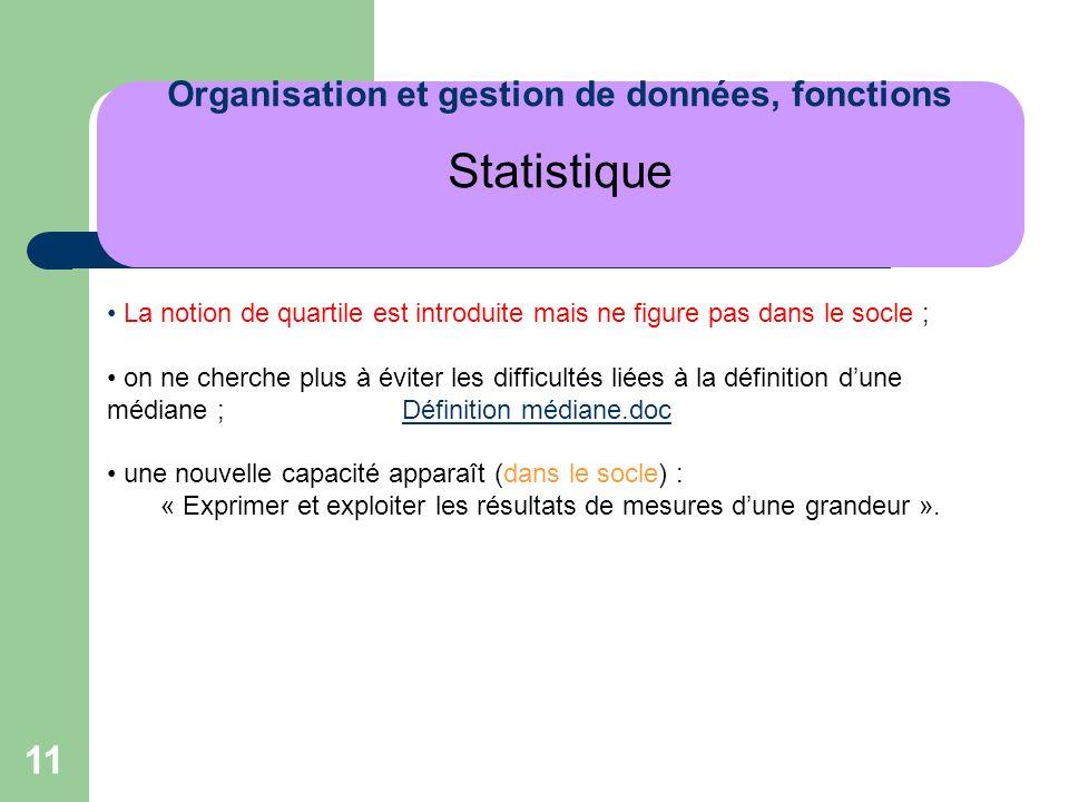 Organisation et gestion de données, fonctions Statistique