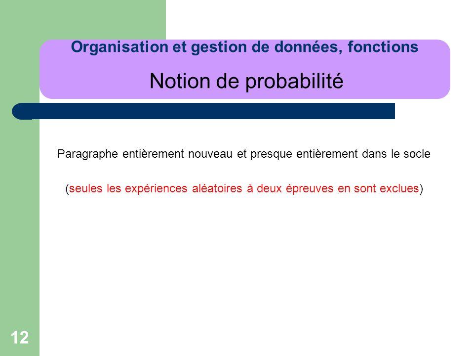 Organisation et gestion de données, fonctions Notion de probabilité