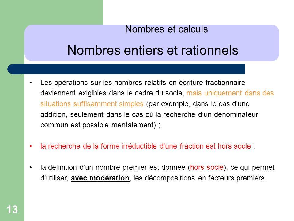 Nombres et calculs Nombres entiers et rationnels