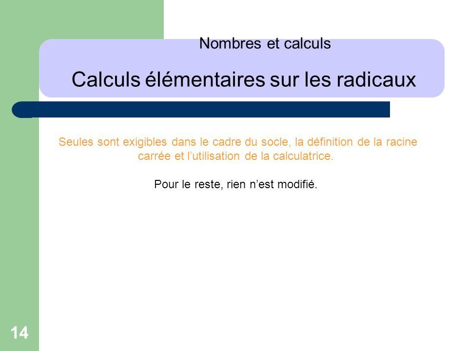 Nombres et calculs Calculs élémentaires sur les radicaux