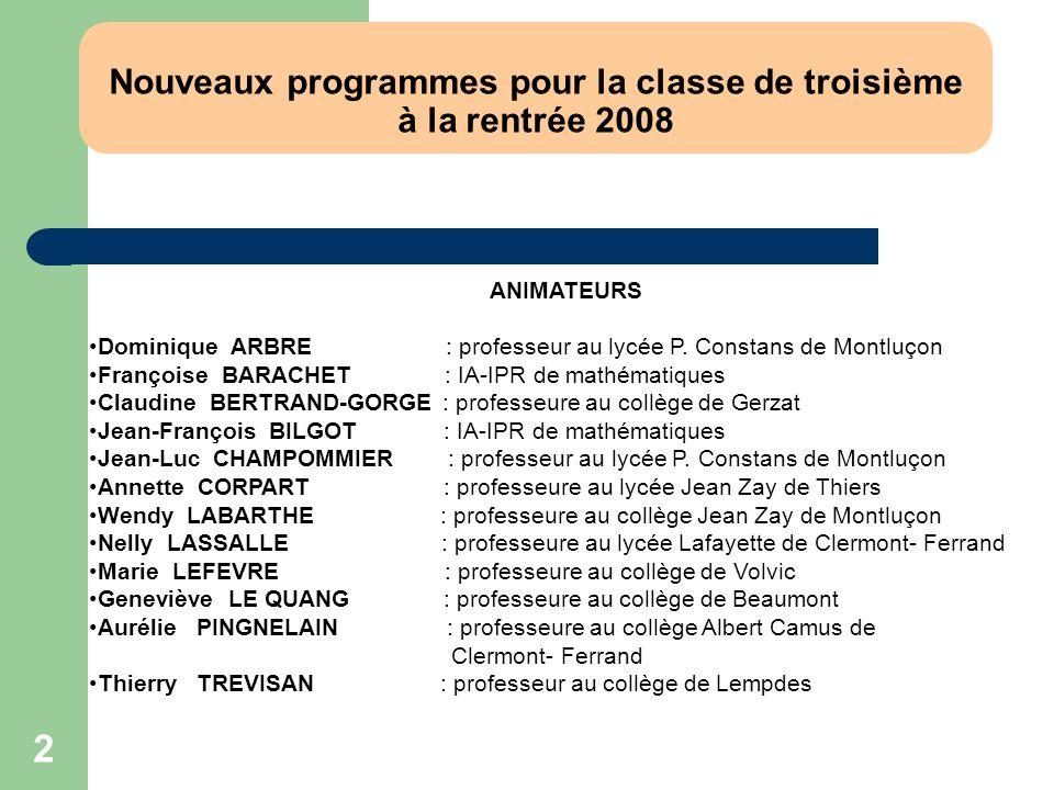 Nouveaux programmes pour la classe de troisième à la rentrée 2008