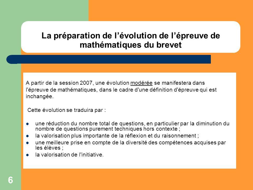La préparation de l'évolution de l'épreuve de mathématiques du brevet