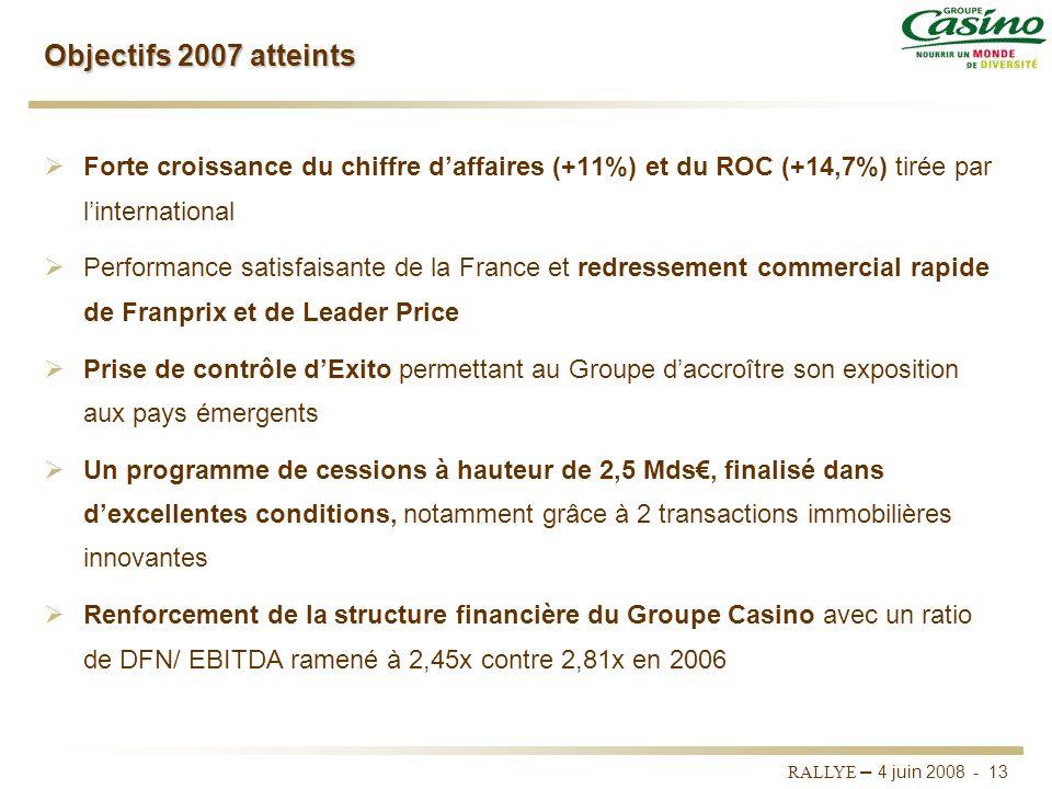Objectifs 2007 atteints Forte croissance du chiffre d'affaires (+11%) et du ROC (+14,7%) tirée par l'international.