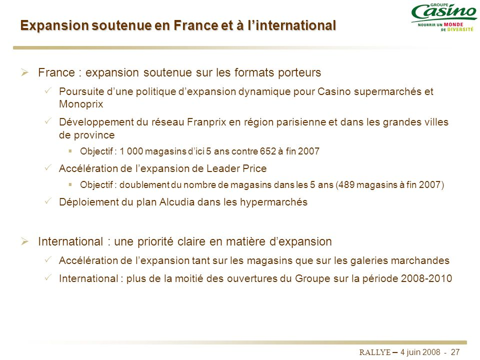 Expansion soutenue en France et à l'international