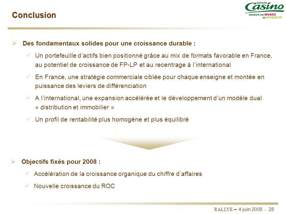 Conclusion Des fondamentaux solides pour une croissance durable :